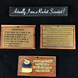Lot Of 4 Wood Wall Plaque Signs Vintage Funny And Serious Yellowstone Long Beach