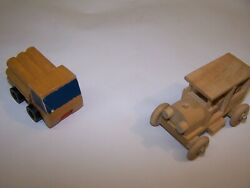Vintage 70s Wooden Toy Classic Car And 1971 Mattel Wood Log Dump Truck