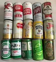 15 Vintage Empty Beer Cans Various Brands Lucky Giant Old Crown Jax Schlitz ++