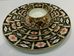 Royal Crown Derby 2451 Traditional Imari 5 Piece Place Setting All Mint