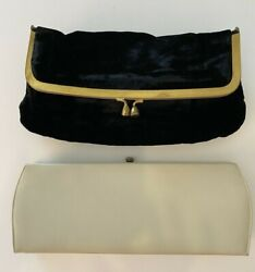 LOT: 2 VTG Clutch Handbags: Theodor California Off White Black Velvet Fold Over $22.99