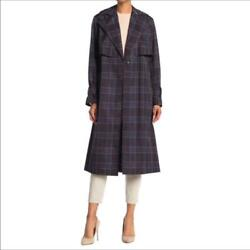 Vince Belted Plaid Trench Coat Jacket Winter Checkered Checked Belt Career