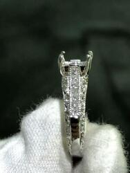 14k White Gold Pave Hand Made Cushion Cut Design Mounting Engagement Ring Sz 8