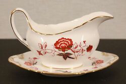 Discontinued Royal Crown Derby Bali Ely Chelsea Gravy Boat With Underplate Mint