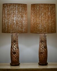 Pair Of Reticulated Asian Organic Modern Table Lamps 1970s Mid Century Modern