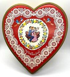 Vintage Whitman's Valentine Heart Candy Box, Embossed Lace Bluebirds 50's Or 60'