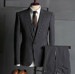 Black Menand039s Suit Chalk Stripe Formal Business Slim Fit Tuxedos Best Man Tailored