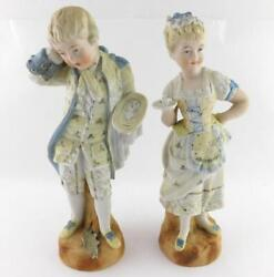 Pair Of Bisque Porcelain Figurines Serving Boy And Girl Dropped Fish Great Value