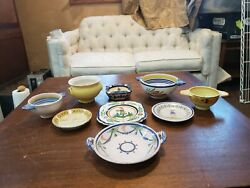 Vintage French Quimper Pottery - Assorted Lot - Plates, Bowls, Ashtray