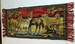 "Vintage Tapestry Wall Hanging Equestrian Horses 18"" X 38"""