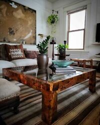 1970s Brutalist Copper Coffee Table With Smoked Glass Insert Paul Evans Style