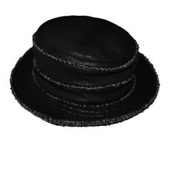 Motsch For Hermes Black Bicolor Leather Boucle Tweed Wool Mohair Hat 56
