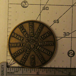 Vintage Bsa Boy Scout Brass Oath And Law Large Challenge Coin Token Excellent
