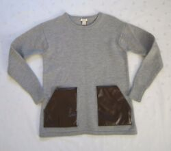 J. Crew 100 Merino Wool Faux Leather Patch Front Pocket Grey Sweater Size S