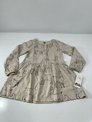 Tea Collection Button Front Dress Llama Love Toddler 3t Nwt