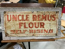 Rare Vintage Early Teens Embossed Tin Tacker Sign Uncle Remus Flour