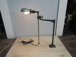 Vintage Industrial O.c. White Adjustable Arm Table/wall Light Hubbell Shade Usa