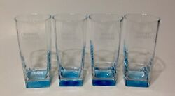 Set Of 4 Bombay Sapphire London Gin Blue Tinted Tall Glasses