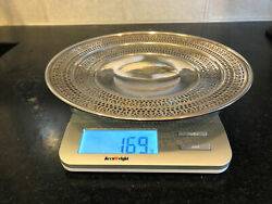 Vintage Reticulated Pierced Sterling Silver Round Footed Plate/tray 169gm