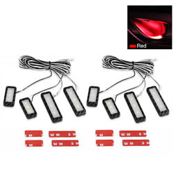 8x Red Car Door Bowl Handle Led Ambient Atmosphere Light Interior Accessories