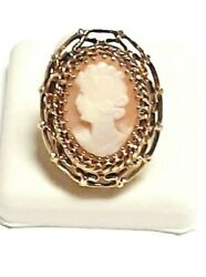 Antique 14 K Yellow Gold Designed With A Lady On Front Womenand039s Ring