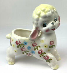 Vintage Sheep Or Baby Lambs With Bows Ceramic Hand Painted Planter Pottery