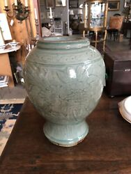 Antique Chinese Longquan Celadon Glazed Footed Baluster Shaped Vase As Is