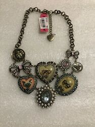 Betsey Johnson Cameo Critters Cats And Dogs Necklace Nwt Rare