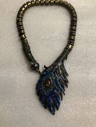 Betsey Johnson Critters Peacock Collar Necklace Nwot Rare