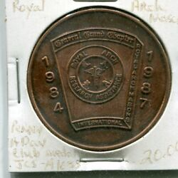 1984-1987 General Grand Chapter Royal Arch Masons Penny A Day Club Medal 38mm Br
