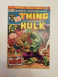 Marvel Feature 11 12 Lot 2 Comic Books Marvel Bronze Age Thing Early Thanos