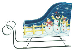 Novelties And Gifts 1256648 Snow Family Hand Painted Wood Sleigh