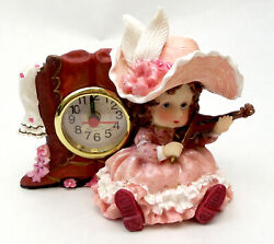 Novelties And Gifts 1256138b-p Victorian Resin Clock - Girl Musician With Violin I