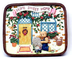 Novelties And Gifts 1253814a Home Sweet Home Resin Wall Plaque - Bear With Animal
