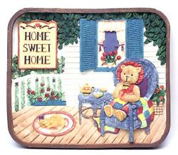 Novelties And Gifts 1253814c Home Sweet Home Resin Wall Plaque - Bear On Porch At