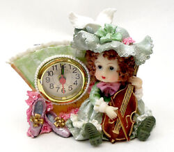 Novelties And Gifts 1256138a-g Victorian Resin Clock - Girl Musician With Violin I
