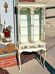 Oriental Chinoiserie Queen Ann Style Double Door Curio Display Cabinet