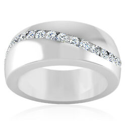 0.37 Ct Genuine Diamond Mens Engagement Band 14k Solid White Gold Ring Size 7 8