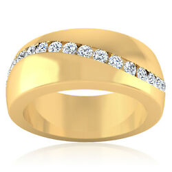 0.37 Ct Genuine Diamond Mens Engagement Band 14k Solid Yellow Gold Ring Size 7 8