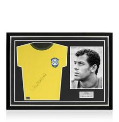 Carlos Alberto Front Signed Retro Brazil Home Shirt Home Shirt In Hero Frame Op