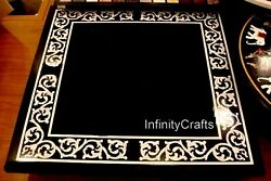 Square Shape Black Marble Dining Table Top Mop Work Office Table 36 X 36 Inches