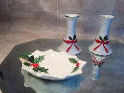 Vtg Christmas Holly Leaf/red Ribbon Ceramic Berry/candy Dish And Candle Sticks