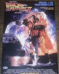 Michael J Fox Christopher Lloyd Back To The Future 2 Signed 12x18 Poster Bas