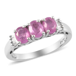 925 Sterling Silver Pink Sapphire White Diamond Ring Ct 1.6 I Color I3 Clarity