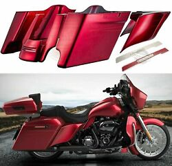 Velocity Red Sunglo Stretched Saddlebag Extended Bag Side Covers For Harley 14+