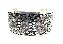 Native American Sterling Silver Navajo Handmade Over Lay Eagle Cuff Bracelet