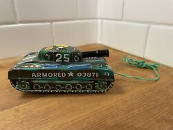 Vintage Marx Tin Battery Operated Armored Military Tank 03871 - As Is