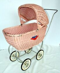Antique South Bend Toy Wicker Baby Doll Carriage Buggy Pram Stroller 1960 S Pink