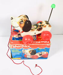 Vintage 1990 Wooden Fisher Price Little Snoopy Pull Toy Dog 2034 W/ Box