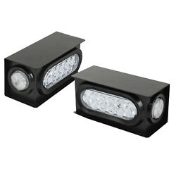 Pair White 10led 6 Oval Trailer Tail Light And 2 Marker Lamp And Steel Housing Box
